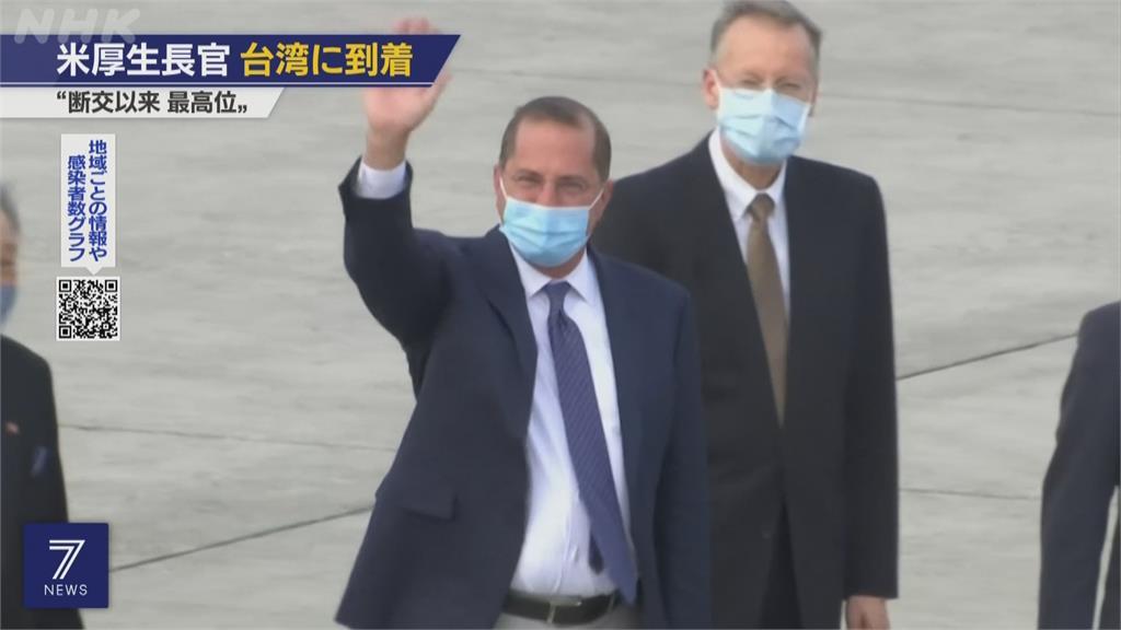 阿札爾抵台國際關切 NHK稱41年來訪台最高美國官員