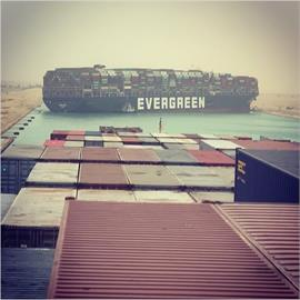 長榮貨櫃船卡在蘇伊士運河 釀海運大堵塞