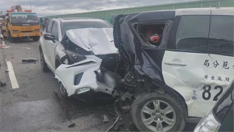 槽車撞貨車斷兩截 後車打瞌睡擦撞警車