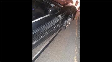 輪胎破還上國道 大車駕駛合力攔