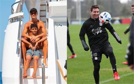 足球/與偶像梅西第1次相遇!C羅兒「迷你羅」不可置信:他好矮呀