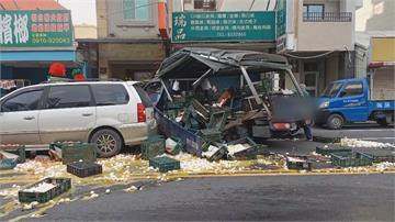 花蓮民宅火警1人逃生不及重傷蛋液流滿地! 器材車趕救災撞載蛋貨車