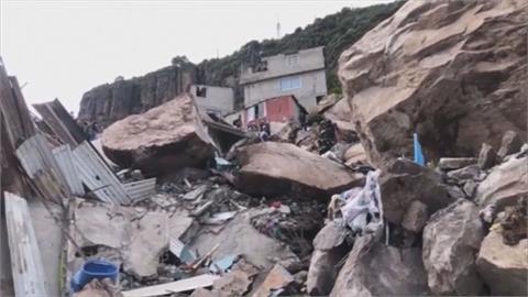 搶救畫面曝光!墨西哥城郊山崩「巨大岩石砸毀房屋」 釀1死10失蹤