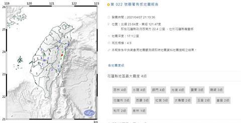 快新聞/21:19規模4.9顯著有感地震 最大震度花蓮地區4級