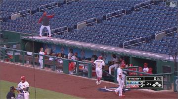 MLB/國民新隊友開轟 索托爬上看台區自嗨熱舞