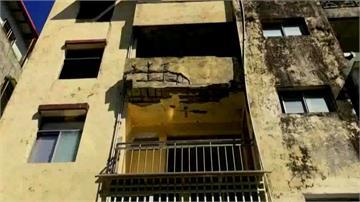 基隆公寓外牆剝落 水泥塊從天降民眾心驚驚