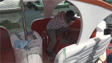 花蓮鯉魚潭天鵝船慘變「花天鵝」 業者疑糾紛被報復報警追查潑漆嫌犯