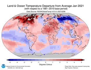 快新聞/142年來第7高溫!鄭明典秀1月全球均溫圖 網友嚇「地球暖化相當明顯」