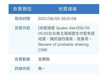 地震!05:51地牛翻身台北強烈搖晃 東北海域中型有感地震