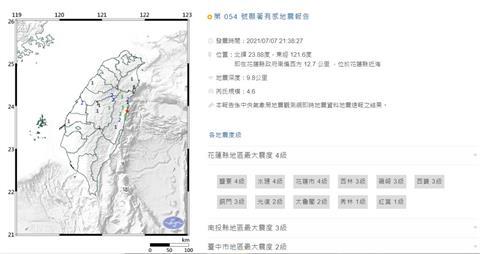 快新聞/花蓮晚間又地震!規模4.6最大震度4級 氣象局估2、3天內有餘震