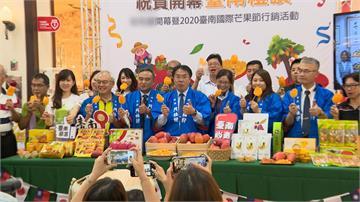 黃偉哲台中推銷芒果 自嘲胖5公斤
