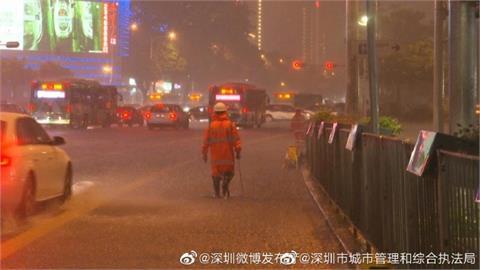 颱風盧碧登陸廣東汕頭 深圳暴雨路面積水阻交通