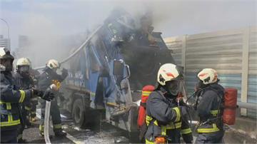 國道3號垃圾車起火冒濃煙 一度回堵幸無人受傷
