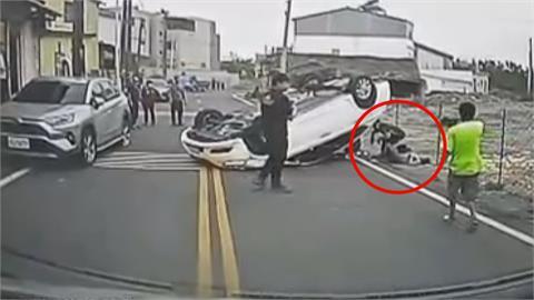 酒駕擦撞路停車 汽車彈飛壓中路過騎士
