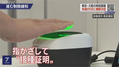 日本疫情趨緩逐步鬆綁 開發指紋掃描確認疫苗接種
