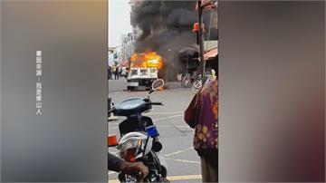 小貨車起火 6大人跳車9歲女童燒死 父跪地痛哭