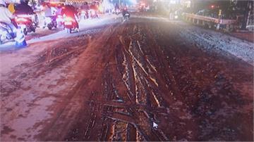 螺旋金屬掉滿地12車爆胎 泥漿溢出害「犁田」