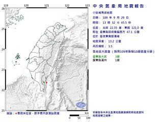 快新聞/台東連9震!台東近海規模3.5地震 最大震度3級