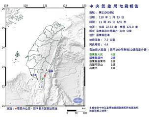 快新聞/11:45台東近海發生有感地震! 規模4.4、最大震度大武4級