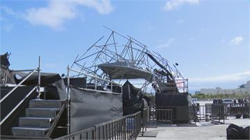 強陣風襲中南部 傳零星災情 牌樓塌、跨年晚會鷹架被吹倒