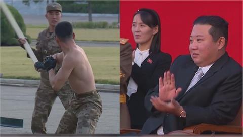 北朝鮮軍人裸身秀武術!「胸口碎大石、喉頂鋼筋」 金正恩嗨翻狂鼓掌