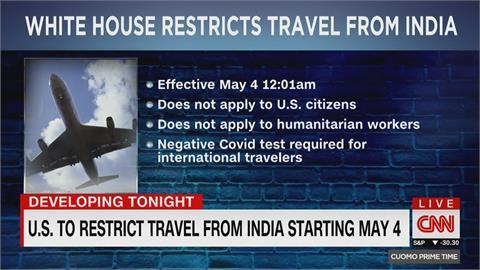 快新聞/防堵疫情擴散 美國白宮:印度旅行禁令5/4生效