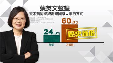民進黨敗選滿月 蔡英文聲望探底只剩24.3%