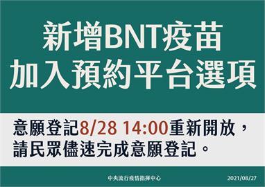 快新聞/疫苗預約平台可以選BNT了! 8/28下午2時開放意願登記
