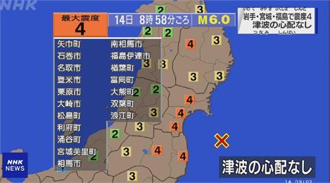 福島外海規模6強震  無海嘯危險