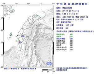 快新聞/清晨地牛翻身! 台南規模4.0 宜蘭近海規模3.5地震