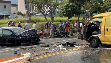 快新聞/台11線成功鎮「工程車與轎車對撞」 4人受傷、1重傷急救