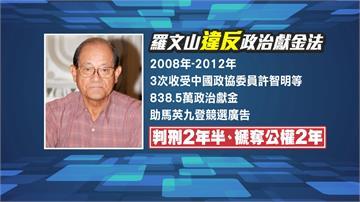 收中國政治獻金替馬英九助選 退將羅文山遭判刑