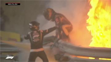 F1巴林站賽車撞護欄起火 車手及時跳車逃生