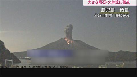 日本「櫻島」火山爆發碎屑噴飛2.3公里高 碎屑流噴到1.8公里遠