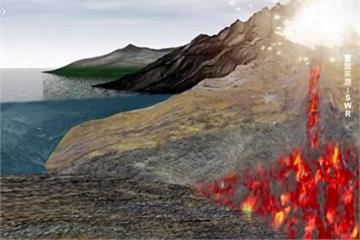 板塊推擠形成火山 岩漿累積造成火山爆發