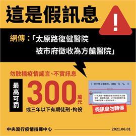 快新聞/網傳「台中太原路復健醫院被徵收為方艙醫院」 指揮中心:假訊息
