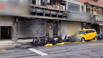 人為縱火?6機車遭燒毀 火勢波及補習班招牌