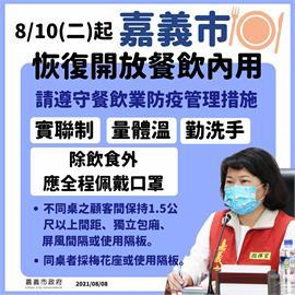 快新聞/嘉義市宣布:8/10起餐飲業及夜市開放內用 禁止邊走邊吃、試吃
