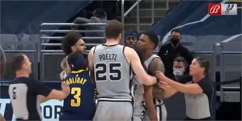 NBA/溜馬馬刺大亂鬥 桑遜禁賽1場米爾斯和蓋伊罰錢
