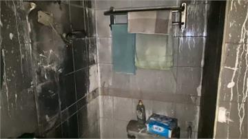 電熱水器冒煙起火 男大生逃出浴室  十分鐘火勢撲滅 整棟住戶驚嚇難平