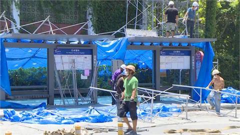 驚!板橋亞東醫院旁工地鷹架倒塌  一度傳出工人墜落生死未卜