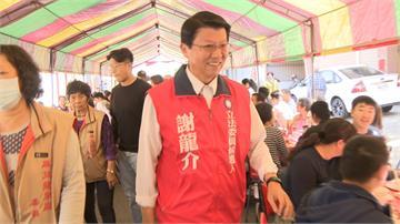 台南立委選戰不休息 謝龍介、陳筱諭拜年撞場不尷尬