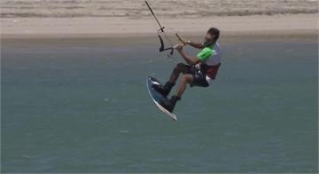 新興極限運動 年輕人爭風箏衝浪冠軍