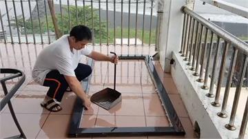 宛如颱風!枋寮強風吹翻餐桌椅 飛起撞碎落地窗