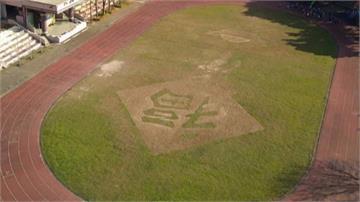 空拍直擊操場有春聯 工友割出「福」草地
