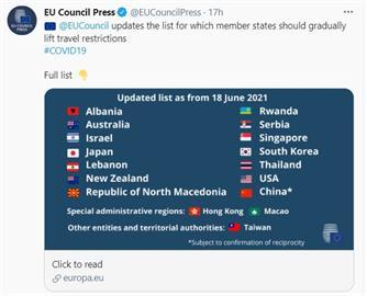快新聞/歐盟安全旅遊名單納入台灣 蘇貞昌:防疫工作獲國際肯定