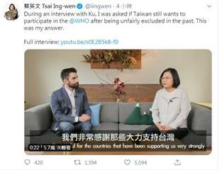 8國口頭照會挺台灣參與WHA 總統蔡英文PO影片感謝