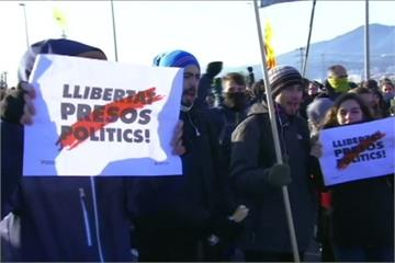 抗議政府監禁加泰隆尼亞政治人物 民眾上街罷工