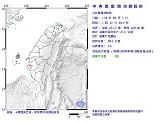 快新聞/台南市3.4地震 震央在佳里區