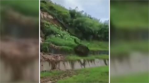 苗栗公館邊坡土石三度崩落 銅鑼高壓電線掉落水田